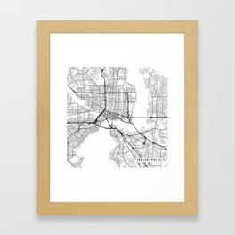 Indianapolis Map, USA - Black and White Framed Art Print