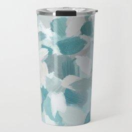 Mint Seafoam Green Turquoise Blue Sea Beach Glass Coastal Abstract Nature Ocean Painting Art Print Wall Decor  Travel Mug