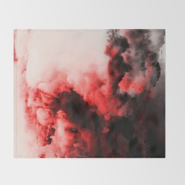 In Pain - Red And Black Abstract Throw Blanket
