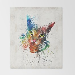 Colorful Cat Art by Sharon Cummings Throw Blanket