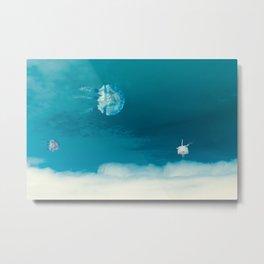 Time Rabbit and jellyfish Metal Print