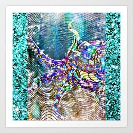 Underwater glitter octopus Art Print