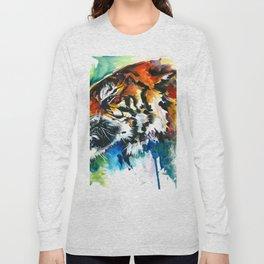 Orange Mad Tiger Watercolor Long Sleeve T-shirt