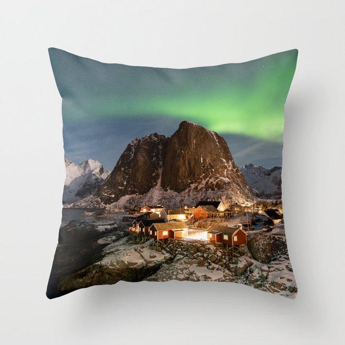 Northern Lights Over Hamnøy Throw Pillow