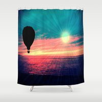 baloon Shower Curtains featuring BRIGHTEN by Laura Santeler