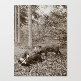 Mighty Hunter Funny Vintage Photograph, 1898 Canvas Print