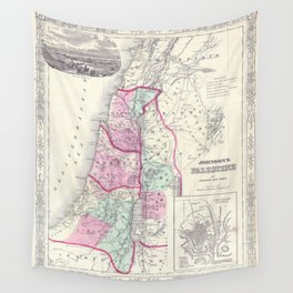 Old 1864 Historic State of Palestine Map Wall Tapestry