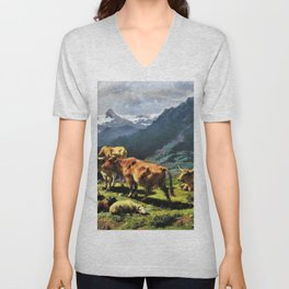 Cattle And Sheep In An Alpine Landscape - Digital Remastered Edition Unisex V-Neck