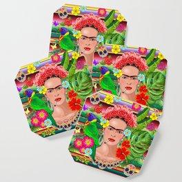 Frida Kahlo Floral Exotic Portrait Coaster
