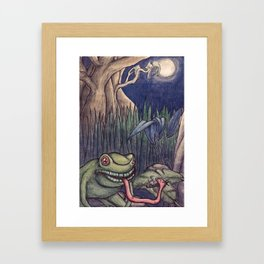 frogs dinner under the silvery moon Framed Art Print