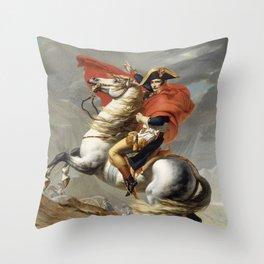 Napoleon Crossing the Alps Throw Pillow