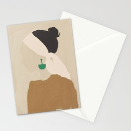 Minimalist Woman with Green Earring Stationery Cards