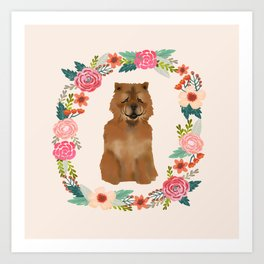 chowchow dog floral wreath dog gifts pet portraits Art Print