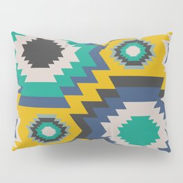 Ethnic in blue, green and yellow Pillow Sham
