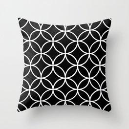 Interlinking Circles Pattern White on Black Throw Pillow