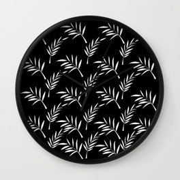 Black and White Leaf Design Wall Clock