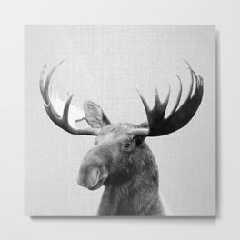 Moose - Black & White Metal Print