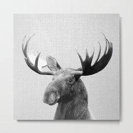 Moose - Black & White Metal Print