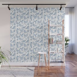 Winter Birds and Foliage Pattern (Blue) Wall Mural