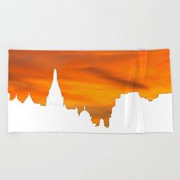 Sunset over London skyline bywhacky Beach Towel