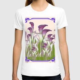 ART NOUVEAU  MAROON CALLA LILIES PURPLE DESIGN T-shirt