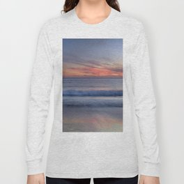 Magical Waves. Square.  Tarifa Beach At Red Sunset Long Sleeve T-shirt