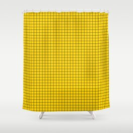 Yellow Grid Black Line Shower Curtain