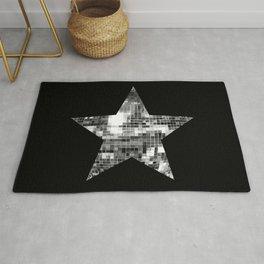 Shiny Silver Disco Ball Star Rug