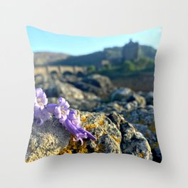 Purple Castle Flowers Throw Pillow