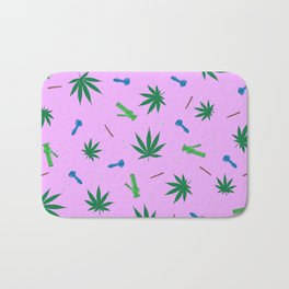 Weed Leaf, Bongs, Pipes, Joint, Blunts Pattern Bath Mat