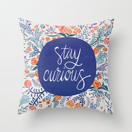 Stay Curious – Navy & Coral Throw Pillow
