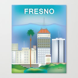 Fresno, California - Skyline Illustration by Loose Petals Canvas Print