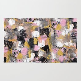 Modern acrylic brushstrokes pink salmon gold black white hand painted Rug