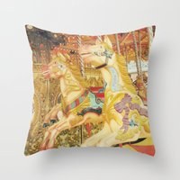 carousel Throw Pillows featuring Carousel Horse by Whimsy Romance & Fun
