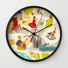 Abstract Spain vector map. Illustrated map of Spain for children/ Wall Clock