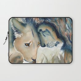 Watercolor Lion and Lioness Laptop Sleeve