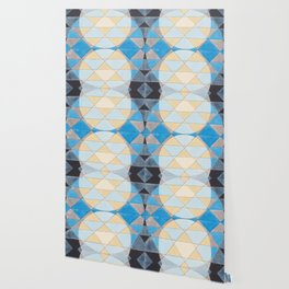 Triangle Pattern No. 14 Circles in Black, Blue and Yellow Wallpaper