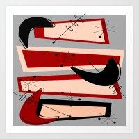 mid century modern Art Prints featuring Mid-Century Modern Boomerangs by Kippygirl