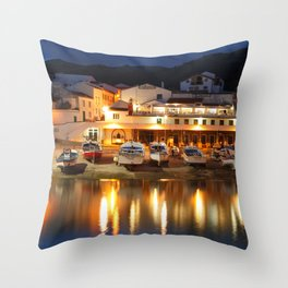 Harbour at dusk Throw Pillow