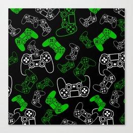 Video Games Green on Black Canvas Print