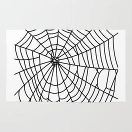 black spider on white background Rug