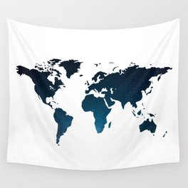 Heaven Meets Earth - Galaxy World Map Wall Tapestry
