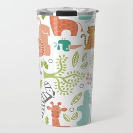 Zoo Pattern in Soft Colors Travel Mug