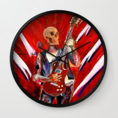 Fantasy art heavy metal skull guitarist Wall Clock
