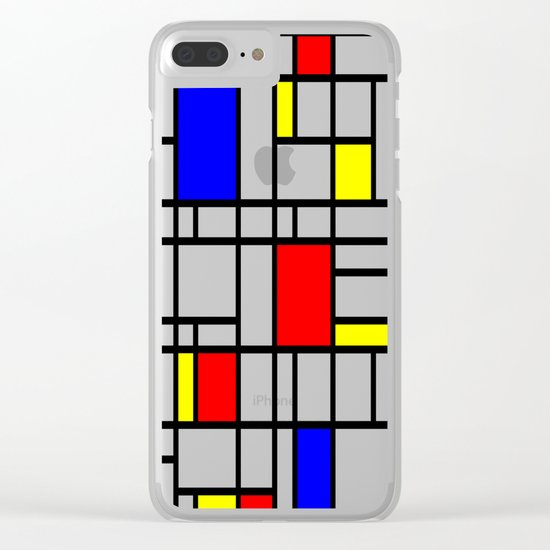 Modern Art Red Yellow Blue Grid Pattern Clear iPhone Case