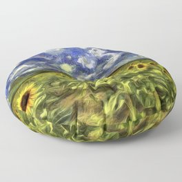 Summer Sunflowers Van Gogh Floor Pillow
