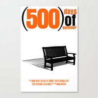 500 days of summer Canvas Prints featuring 500 Days Of Summer by FunnyFaceArt