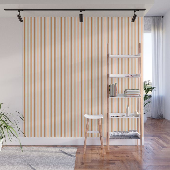 Bright Orange Russet Mattress Ticking Narrow Striped Pattern - Fall Fashion 2018 Wall Mural
