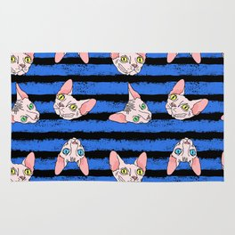 sphynx cats on blue and black Rug
