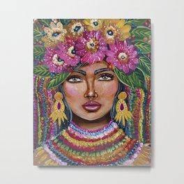Olina-Bohemian Girl Art -Zeli Rodriguez Metal Print